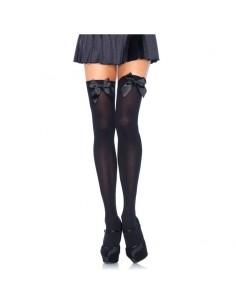 Samostoječe nogavice Leg Avenue Pentlja, črne